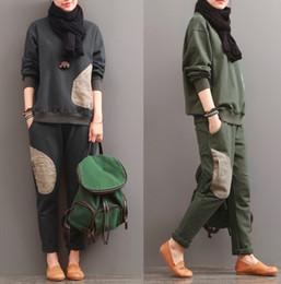 army yoga pants 2019 - Women's Tracksuits warm Solid color pocket color women clothes set tops+long pants tracksuits set ladies fitness tw