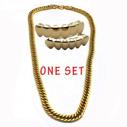 dental gold teeth UK - New Trendy Gold Plated Chain Hip Hop Teeth Grillz Caps Top & Bottom Grills Set with 10mm Golden Rapper's Chain Necklace