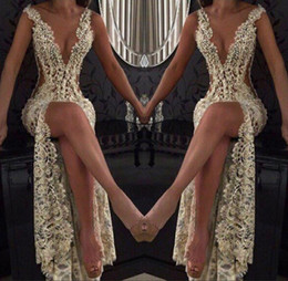 Plunging dress sPlit online shopping - 2018 Champagne Sexy Prom Party Dresses Plunging V Neck High Split Full Lace Beading Side Cutaway Backless Evening Celebrity Dress