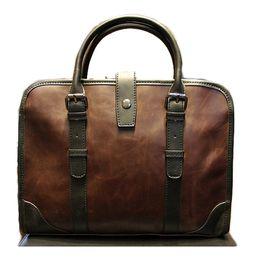 46aca9ceb7a6 Wholesale- New Vintage Men Handbag Business Laptop Bag Men Travel Shoulder  Bag Male Portfolio PU Leather Messenger Bag Famous Brand 2016