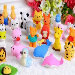kids rubbers stationery Australia - 30 Style Mix Lovely Cartoon Animals Pencil Eraser Cute Rubber Correction Erasers Stationery School Supplies Kids Eco-Friendly Christmas