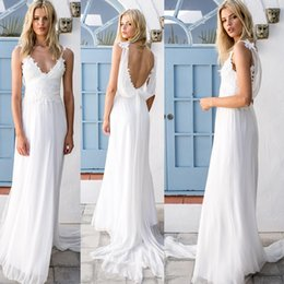 Robes De Mariée En Dentelle Sexy Vintage Pas Cher-Sexy Bohemian Wedding Dresses 2016 Lace Chiffon Backless A-Line Beach Robes de mariée Vintage Boho Robes de mariée