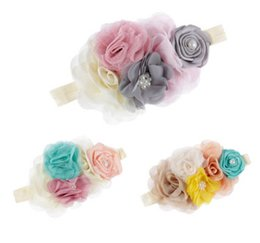 Barato Diy Flor Elástico Headband-Newborn pearl hair bands girls lace chiffon stereo flowerses elástico headband handmade DIY kids accessories baby photography props R0481