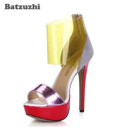 Опт 14 см ультра высокие женские сандалии прозрачный ремень Summmer женщин дизайнеры партии / взлетно-посадочной полосы обувь Wommen Zapatos Mujer, 43