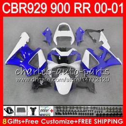 Honda Cbr929 Australia - Body For HONDA CBR 929RR CBR900RR CBR 929 RR CBR929RR 2000 2001 67NO35 TOP Blue white CBR900 RR CBR 900RR CBR929 RR 00 01 Fairing kit 8Gifts