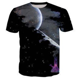 galaxy long sleeve tee UK - Mens Clothing Black Planet Print Fashion Short Sleeve T-shirts For Male Galaxy Summer New Plus Size O-neck Tops Tees Shirts