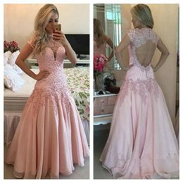 $enCountryForm.capitalKeyWord NZ - Backless Lace 2017 Arabic Evening Dresses Cap Sleeves Pearls A-line Chiffon Prom Dresses Vintage Sexy Formal Party Gowns