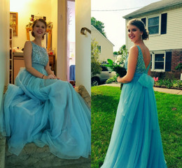 lovely chiffon prom dresses UK - Lovely Blue Beaded Tulle Prom Dresses Sheer Neck Sleeveless Floor Length Backless Party Dresses Long Coral Graduation Homecoming Dresses