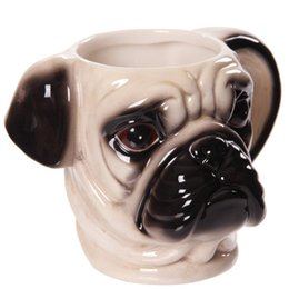 Chinese  Creative Dog Lovers Gift, Cute 3D Pug Animal Dog Head Shaped Ceramic Mug Tea Coffee Cup Free Shipping manufacturers