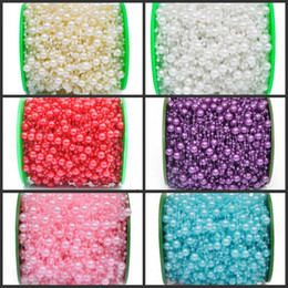 cheap garlands UK - 60 Meters Fishing Line Pearls Beads Chain Garland Flowers Wedding Party Decoration Bead Chain Imitation Pearls Colorful Cheap Supplies
