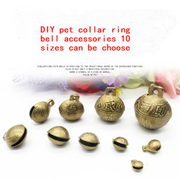diy pet id tags UK - Pet Copper Bell DIY Handmade Accessories Dog Puppy Cat Steller Bell Small Large Animal Bell 10 Sizes