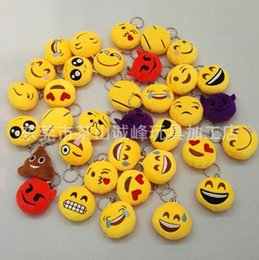 Discount cartoons smiley faces - QQ Emoji Smiley Emoticon Keychains Cute Cartoon Pendant Car Key Chain Soft Round Stuffed Plush Keyrings Cheap Promotion
