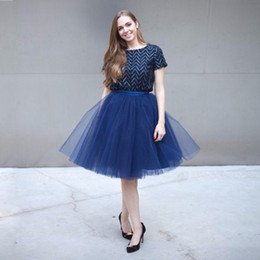 Blue Tutus For Women NZ - Trendy Navy Blue Tulle Skirts For Pretty Lady Puffy Tutu Skirt Summer Spring Style Solid Color Women Clothing Pleat