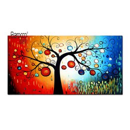 tree painting living room UK - 100% Hand Painted Oil Painting Abstract Colorful Tree Modern Fashion Wall Art Decoration Home Living Room