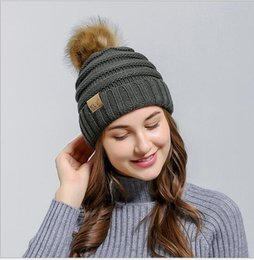 sun hats without top 2019 - Europe and the fall and winter male lady imitation raccoon hair bulb flanging knitted hats Outdoor thickening warm ski c