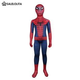 Discount red lycra spiderman suit - Children Spiderman Costume Child Red And Blue Spider-man Full Body Suit Kids Superhero Lycra Spandex Bodysuit Top Qulait