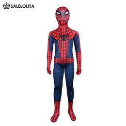 Costume Lycra Spandex Rouge Pas Cher-Enfant Costume Spiderman Enfant Rouge et Bleu Spider-man Costume complet Body Superhero Kids Lycra Spandex Bodysuit Top Qulaity