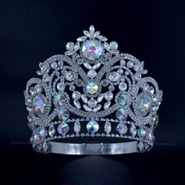 Wholesale Pageant Crowns Rhinestone Crystal AB Silver Miss Beauty Queen Bridal Wedding Tiaras Princess Headress Fashion Hair Jewelry Crown Mo224