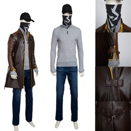 Video Games Costume Canada - Hot Video Games Aiden Pearce Cosplay Cosplay Custom Size Full Set Hat Mask Any Size High Quality