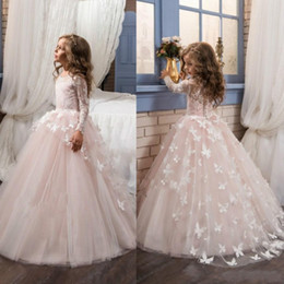 Barato Blush Vestidos De Renda Mangas-2018 Blush Lace Long Sleeves Vestido de Baile Flower Girls Dresses Full Butterfly Kids Dress Up Dress Up