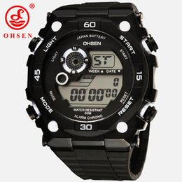 mens watches chronograph UK - Famous brand OHSEN digital Led Sport watch reloj hombre mens male 50m diving white silicone hand chronograph army wristwatches Montre Homme