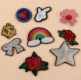 Wholesale New Sequin rainbow anchor rose bowknot Iron On Patches Embroidered Stickers Applique Badge Hat Bag Clothing shoes Fabric Sewing DIY