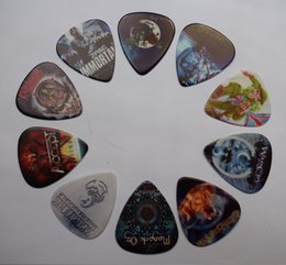 Discount band guitar picks - 10pcs classics Rock Band Design Celluloid Guitar Picks with Metal Pick Holder box for Thanksgiving day gift