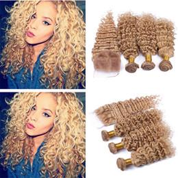 $enCountryForm.capitalKeyWord NZ - 8A Free Part Top Closure With Honey Blonde Hair Bundles Brazilian 27 Blonde Deep Wave Hair Weaves With 4X4 Lace Closure