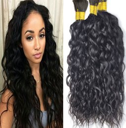 brazilian braiding 2019 - Wholesale-Brazilian Water Wave Human Braiding Hair Bulk 3pcs lot 8A Grade Brazilian Water Wave Human Hair For Braiding B