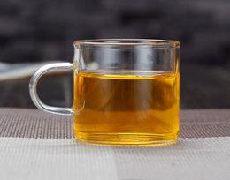 Venta al por mayor de Claro Hecho a mano Mini té de kungfu té de leche de café 100 ml tazas de vidrio resistencia al calor
