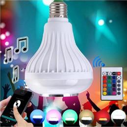 bluetooth remote mobiles 2019 - Cheap E27 Music Bulb Wireless Bluetooth Speaker Bulb Light Lamp Bulbs 12W Power E27 LED rgb Music Playing RGB Lighting w