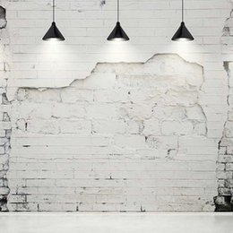 photography backdrops interiors 2018 - Broken White Brick Wall Photography Backdrops with Black Chandeliers Vintage Interior Backgrounds for Studio Wedding Pho