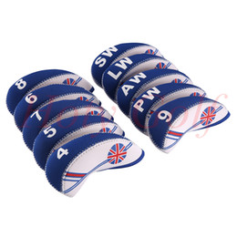 Golf club iron headcovers online shopping - Set New White Blue UK Flag Neoprene Golf Club Iron Head Cover Headcovers