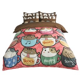 $enCountryForm.capitalKeyWord NZ - Hot Sale Cute Teacup Cats Printing Bedding Sets Twin Full Queen King Size Fabric Cotton Duvet Covers Pillow Shams Comforter Animal Fashion