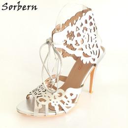 ac83669f0010a9 Modern Laser-cut Wedding Shoes Heels Custom Pumps Tie Closure Stiletto- heeled Ladies Shoes 3.5