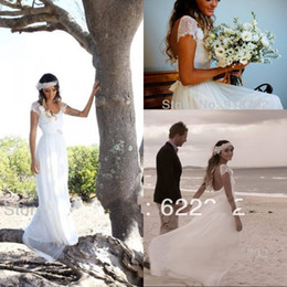 romantic boho beach wedding dress Canada - Romantic Bohemian Beach Wedding Dresses A Line Cap Sleeves Backless Lace Boho Bride Dresses Scoop Chiffon Bridal Gowns