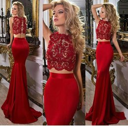 Barato Vestido De Renda De Sereia De Duas Peças Vermelho-Cheap Red Two Pieces Lace Prom Dresses Bateau Neck Mermaid Evening Vestidos Pavimento Comprimento Cetim Custom Made Formal Dress