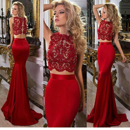 Robe En Dentelle Sirène En Deux Pièces Rouge Pas Cher-Cheap Red Two Pieces Lace Prom Robes Bateau Neck Mermaid Robes de soiree Longueur Satin Custom Made Formal Dress