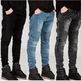 DistresseD cotton online shopping - Mens Skinny jeans Runway Distressed slim elastic jeans denim Biker hiphop pants Washed black jeans for men