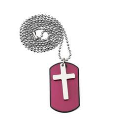 $enCountryForm.capitalKeyWord NZ - Fashion Design Jewelry Charm Men Cross Dog Tag Pendant Necklace 27inch Beads Chain Punk Hip Hop Men Necklace