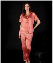 2f2b448d35 Lady Sleepwear pajama silk summer fashion Nightwear pyjamas Women Sleep Wear  short sleeve long pants lingerie Pajama sets SJYT51