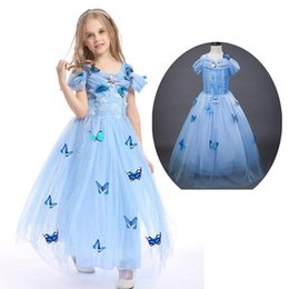 baby cinderella halloween costume Canada - Baby girls Cinderella Princess dresses clothes girls cartoon skirt girl cosplay Queen Aisha costume children cosplay clothing LF008