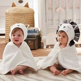 $enCountryForm.capitalKeyWord NZ - 78*58cm Baby Bath Towels with Hood Kids Animal Bath Wraps Cartoon Lion Cat Pattern Super Soft Newborn Swaddle Blankets Cotton Bath Robes