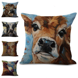 cow prints UK - Cow Pillow Case Cushion Cover Linen Cotton Throw Pillowcases Sofa Car Decorative Pillowcover drop ship PW669