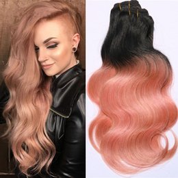 rose gold hair weave UK - Brazilian Dark Root Ombre Hair Extensions 3 bundles #1B Rose Gold Ombre Human Hair Two Tone Body Wave Hair Weft