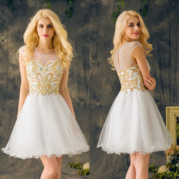 $enCountryForm.capitalKeyWord Canada - Short Prom Dresses 2019 Gold Beading Sequined Crystal White Organza Holiday Mini Homecoming Cocktail Party Dresses Bead Plus Size EV140