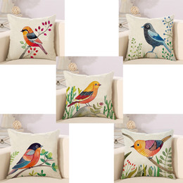 Wholesale Hand Painting Birds Cushions Covers Pillowcase Bird Tree Cushion Cover Sofa Couch Throw Decorative Linen Cotton Pillow Case Present