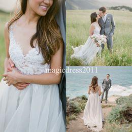 $enCountryForm.capitalKeyWord Canada - Bohemian Country Wedding Dresses With Sheer Short Sleeves Bateau Neck A-Line Lace Applique Chiffon Boho Bridal Gowns Cheap Dress for Wedding