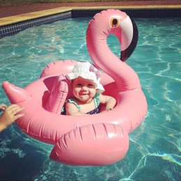 Inflatable Baby Floats Canada - Swan Inflatable Float Swim Ring Baby Summer Toys Swan Swimming Seat Ring Water Toys Beach Toys 3 Colors White Pink blue