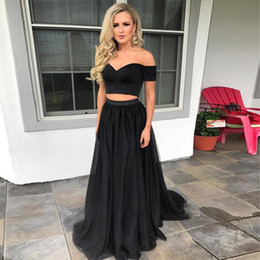$enCountryForm.capitalKeyWord NZ - Two Piece Black Prom Dresses Sweetheart Off Shoulder Short Sleeves Elastic Satin Tulle Elegant Evening Dresses Party Gowns Fast Shipping